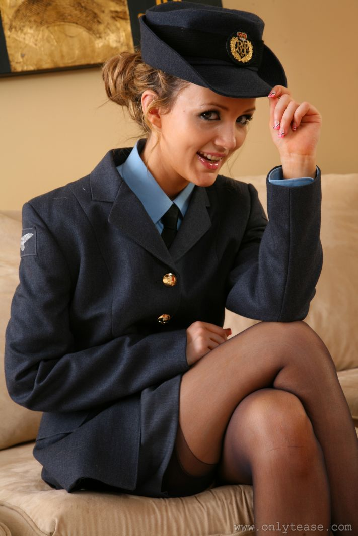 Sexy Blonde Faye X In Her Military Uniform And Sheer Black -3255