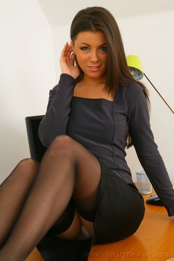 Pantyhose only tease secretary