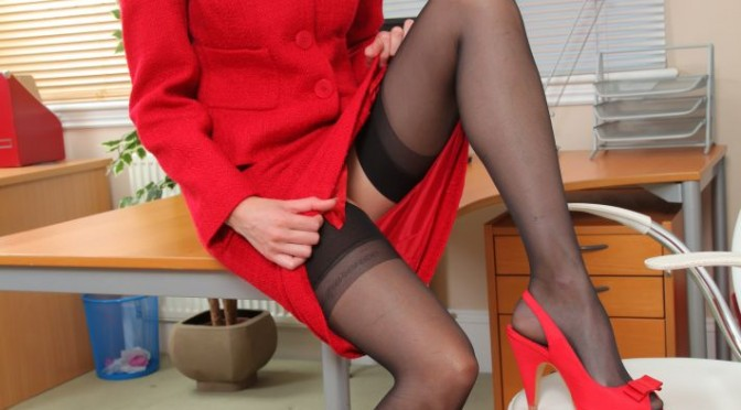 Only Tease Carole in red skirt and black lingerie