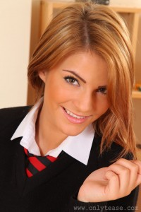 Cute schoolgirl Jessica Kingam from Only Tease