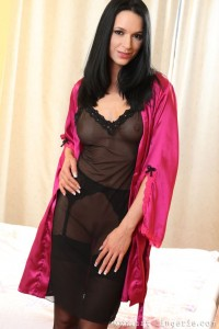 Leg model Anna A in lingerie and black stockings