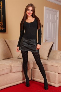 Debra K from Only Opaques in black patterned pantyhose
